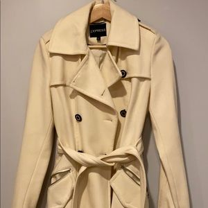 Express women's off white trench coat